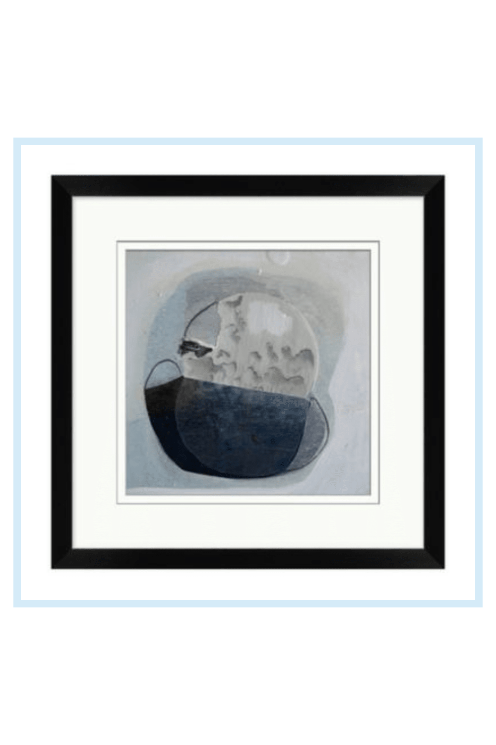 Moonlit Night 18-Inch X 22-Inch Framed Wall Art - The abstract collage design of the Moonlit Night Framed Wall Art will add texture to your home decor. This eye-catching piece features a variety of shapes and colors outlined by a sleek black frame. Comes ready to hang. - living room decor