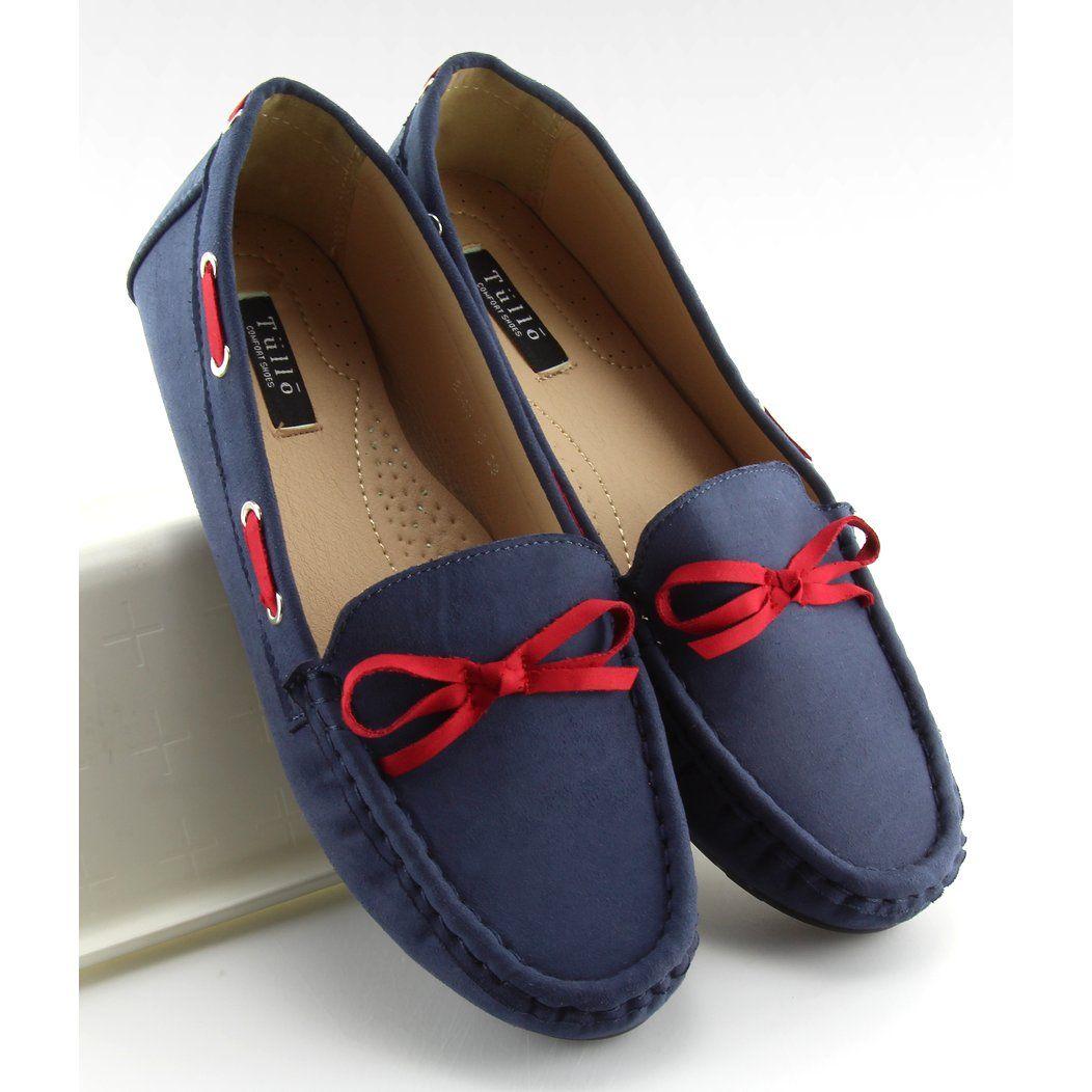 Mokasyny Damskie Klasyczne Granatowe 3145 Blue Red Loafers For Women Insta Fashion Blue Mini Dress