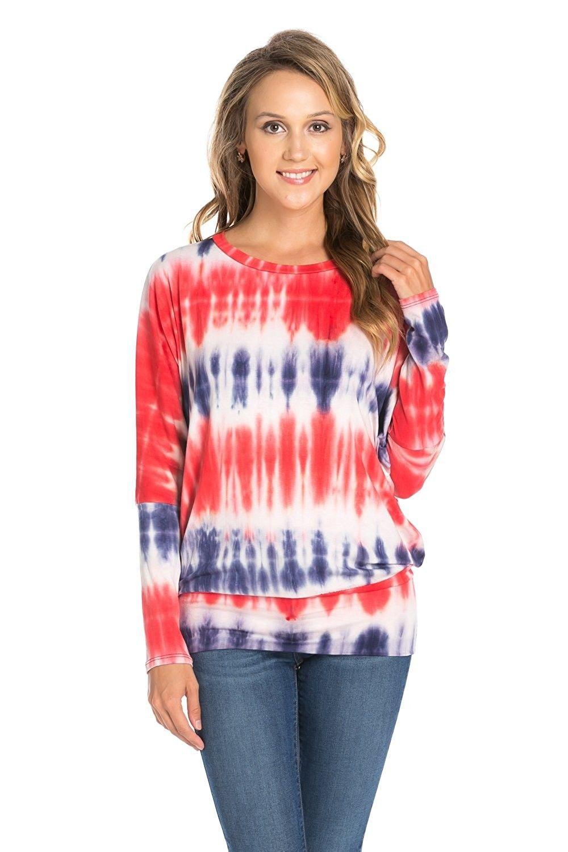 006de6e8ef Womens Long Batwing Sleeve Drape Jersey T Shirts Tunic Top - Navy ...