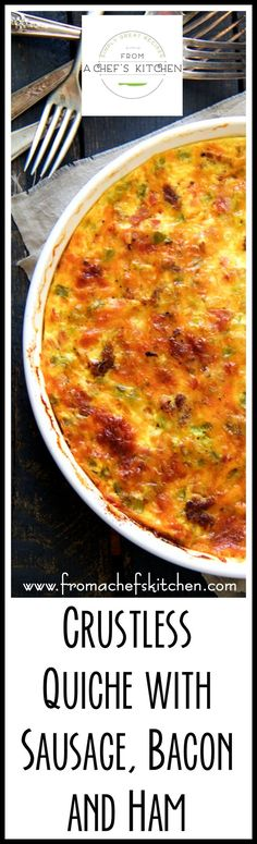 This Crustless Quiche with Sausage, Bacon and Ham is ideal for low-carb or gluten-free diets or simply because it's easier than fussing with a crust!