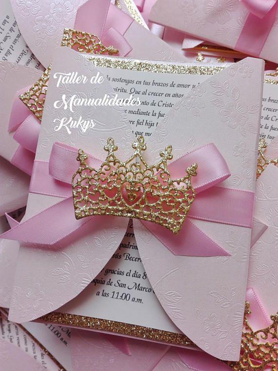 Lindas Invitaciones Con Tema De Princesa, Puedes Utilizarlas Para Baby  Shower, Bautizo, Presentación
