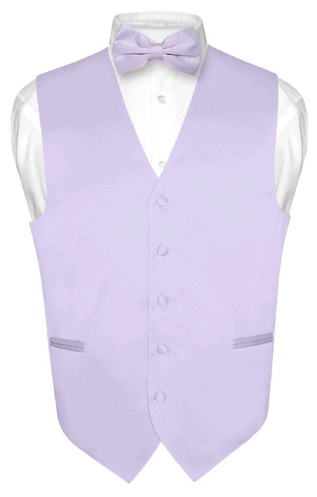 cdd51675b338 Men's Dress Vest & BowTie Solid LAVENDER PURPLE Color Bow Tie Set for Suit  Tux