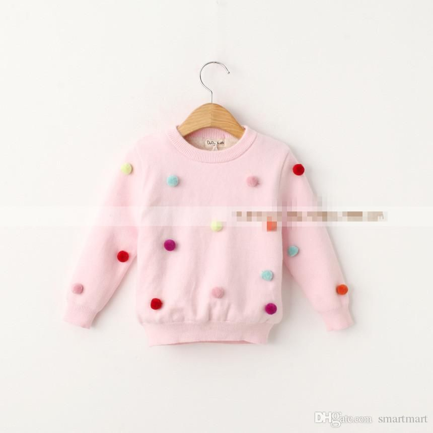 b5bc18afff5b Sweet Babies Color Fleece Balls Pullover Sweaters Tops Candy Color ...