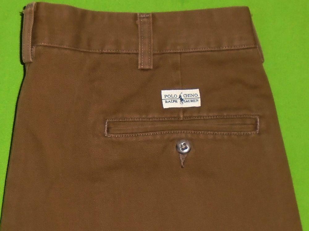 97645f56 Polo Ralph Lauren Brown Pleated Hammond Chino Pants Cuff Hems Men ...