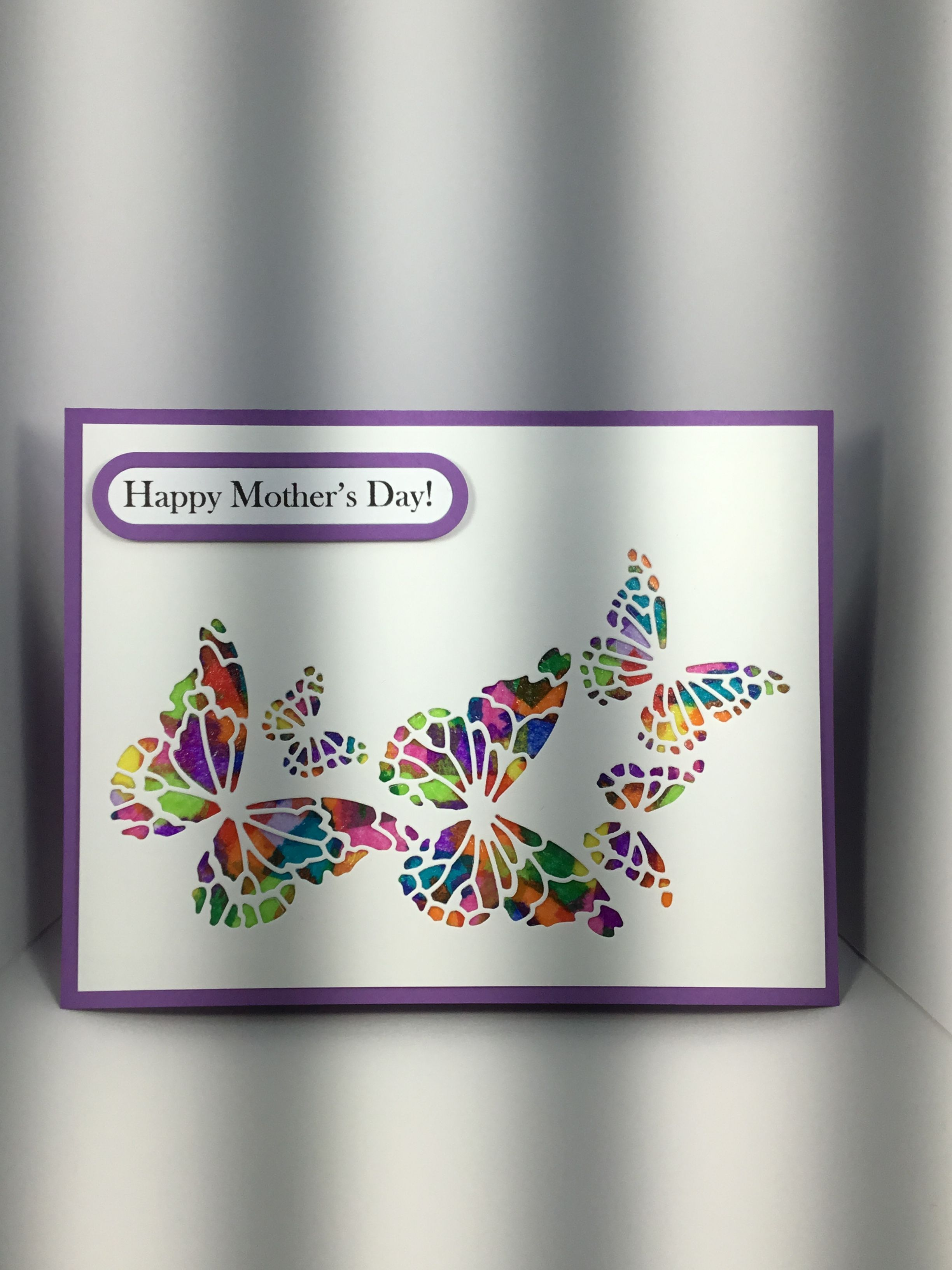 Handmade butterfly motherus day card with memory box reverse
