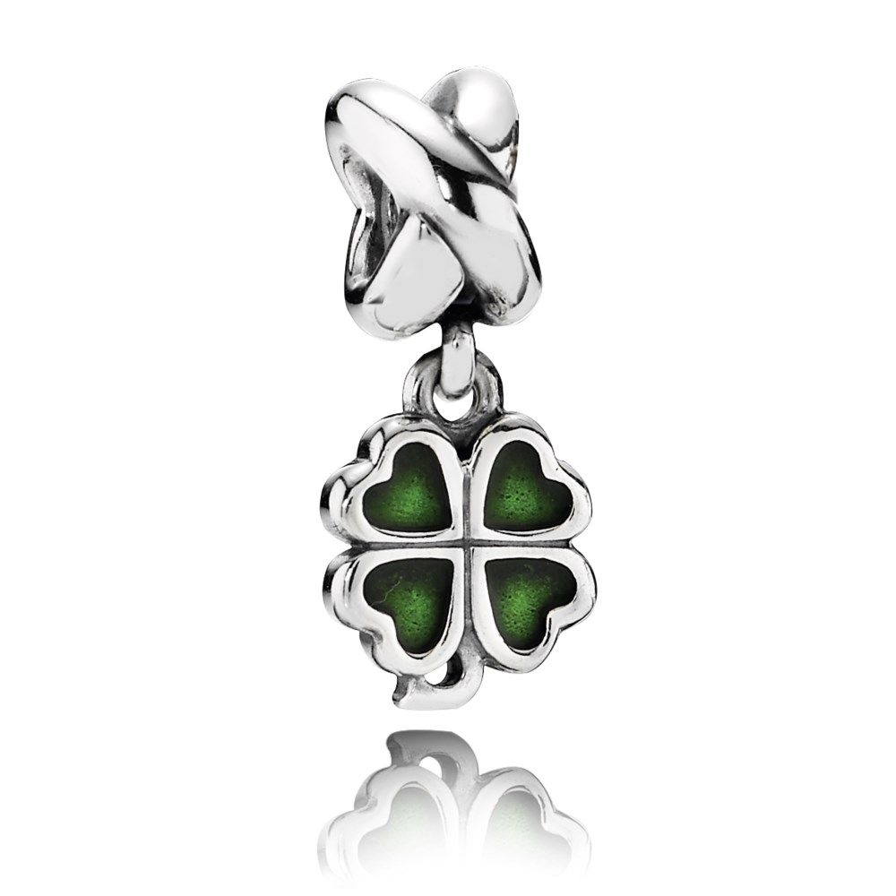 Green lucky shamrock necklace four leaf clover charm emerald green - Pandora Green Four Leaf Clover Dangle Charm With Enamel In Sterling Silver