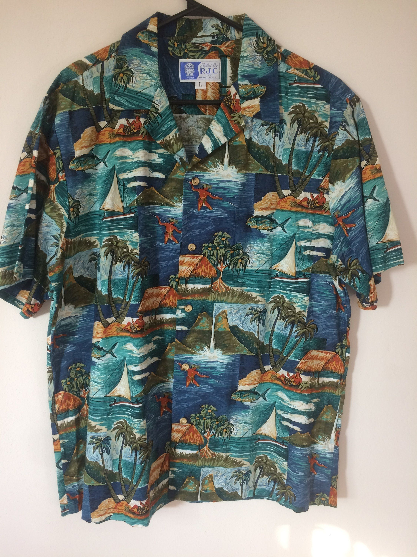 f5e6660e Vintage RJC Magnum PI Aloha Hawaiian Shirt Size L teal blue Cotton Reyn  Spooner Paradise Found Sun Surf Hilo Hattie by SalvajeVintageSupply on Etsy