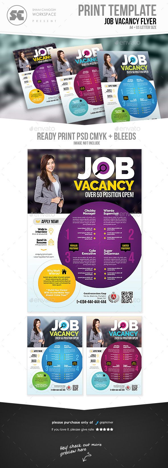 Job Vacancy Flyer | Carteleria, Tríptico y Volantes