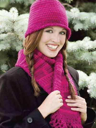 Free Berry-licious Scarf & Hat Crochet Pattern -- Download this free ...