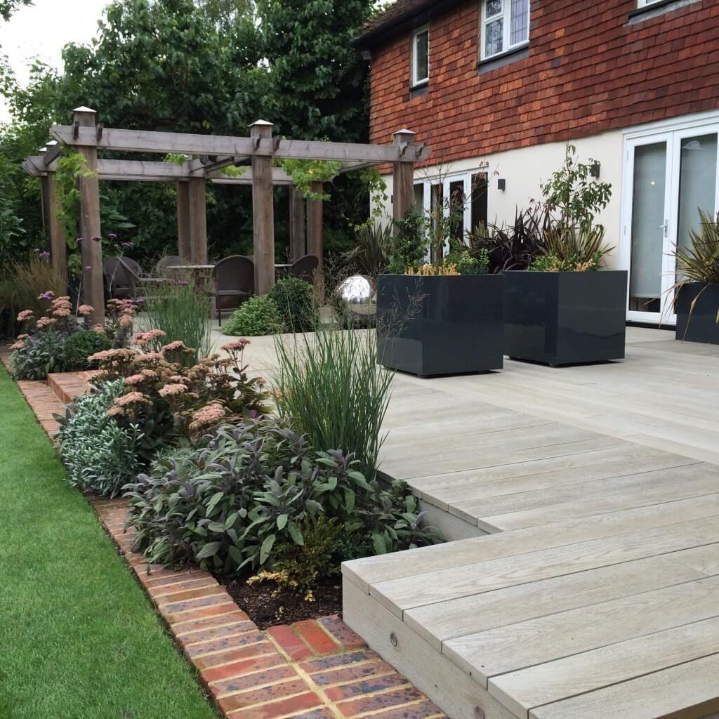 Decked Garden Ideas: Composite Decking And Oak Pergola