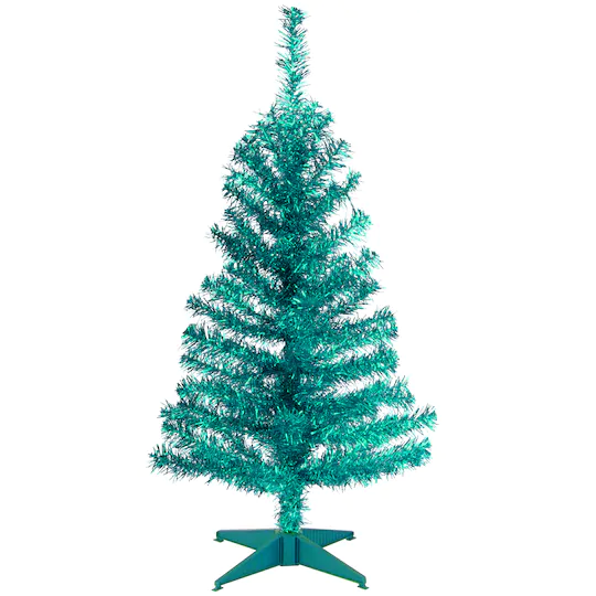 3ft Unlit Turquoise Tinsel Artificial Christmas Tree Tinsel Christmas Tree Tinsel Tree Full Christmas Tree