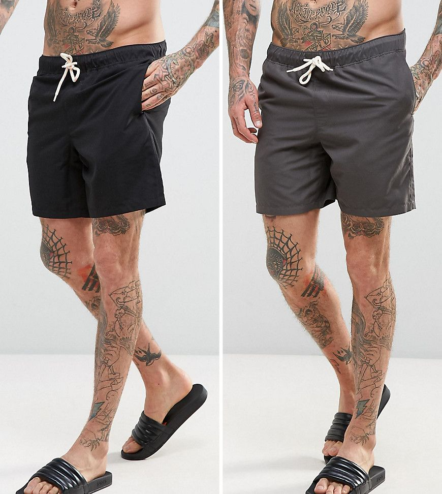 Get this Asos's swimsuit now! Click for more details. Worldwide shipping. ASOS Swim Shorts 2 Pack In Black & Grey In Mid Length SAVE - Multi: Mid length swim shorts pack by ASOS, Pack of two, Drawstring waistband, Mesh lining, Side slant pockets, Machine wash, 100% Polyester, Outseam measures approximately 42cm/16.5 in length. ASOS menswear shuts down the new season with the latest trends and the coolest products, designed in London and sold across the world. Update your go-to garms with the…