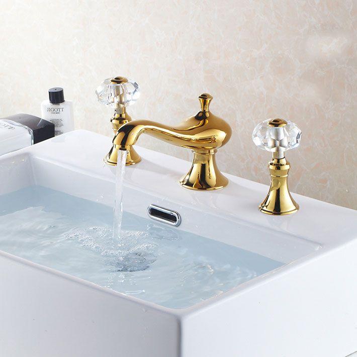 Classic mini -Widespread 3pcs Bathroom Sink Faucet Dual Crystal ...