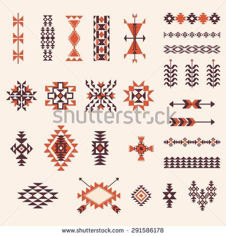 Native american navajo aztec pattern vector elements for Native design