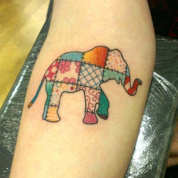 patchwork elephant | skin mixed with graphic representations of ... : quilt square tattoo - Adamdwight.com