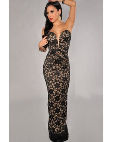 Black Lace Nude Illusion Plunging V Neck Strapless Dress