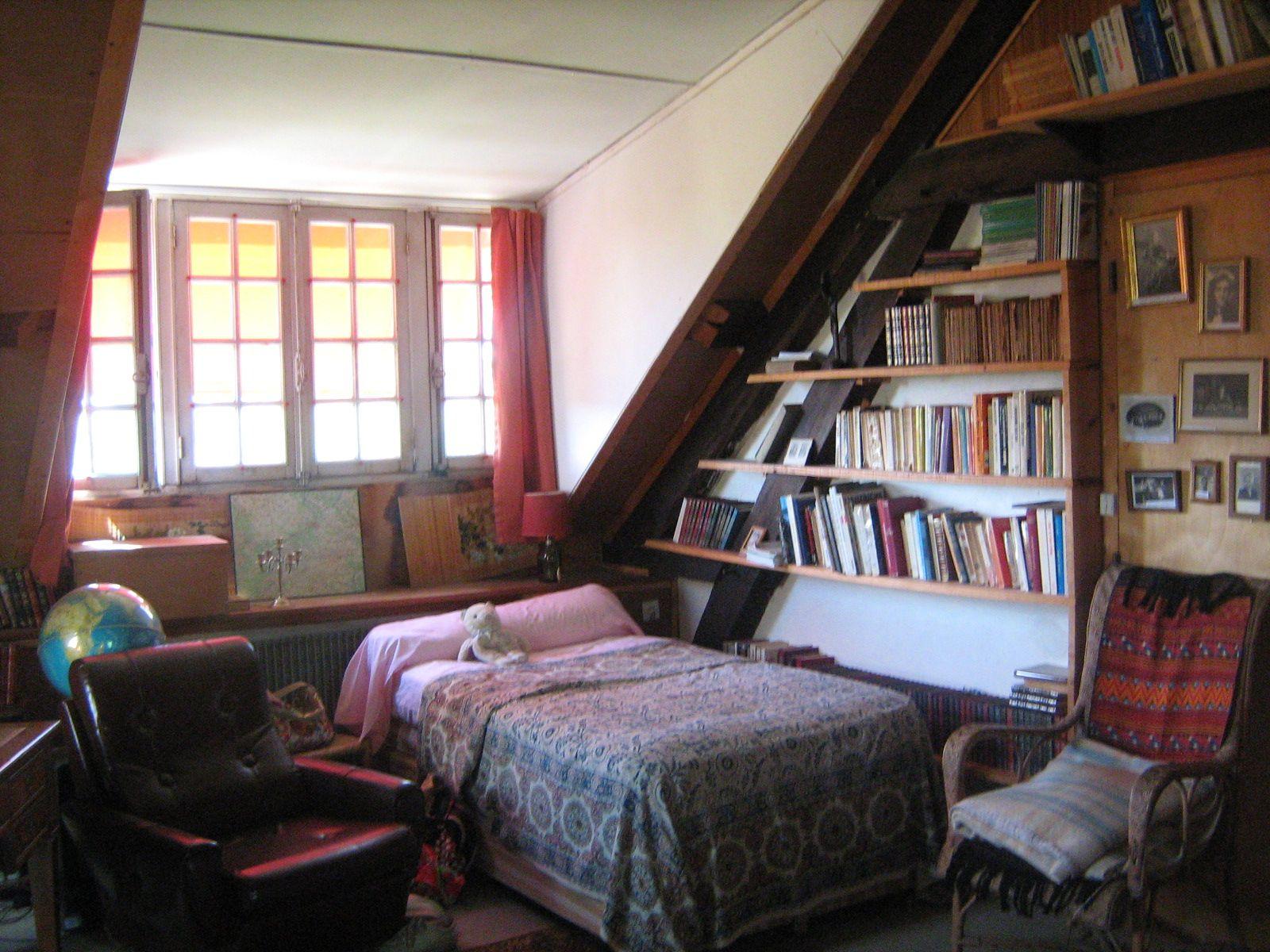 attic bedroom in Normandy farmhouse