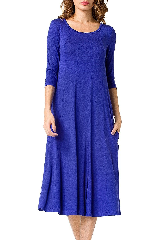 Women S A Line Swing Midi Dress 3 4 Sleeve Splice Long Dresses Royal Blue Cr184xr6uad Long Dress Casual Loose Midi Dress Women Dresses Classy [ 1500 x 1022 Pixel ]
