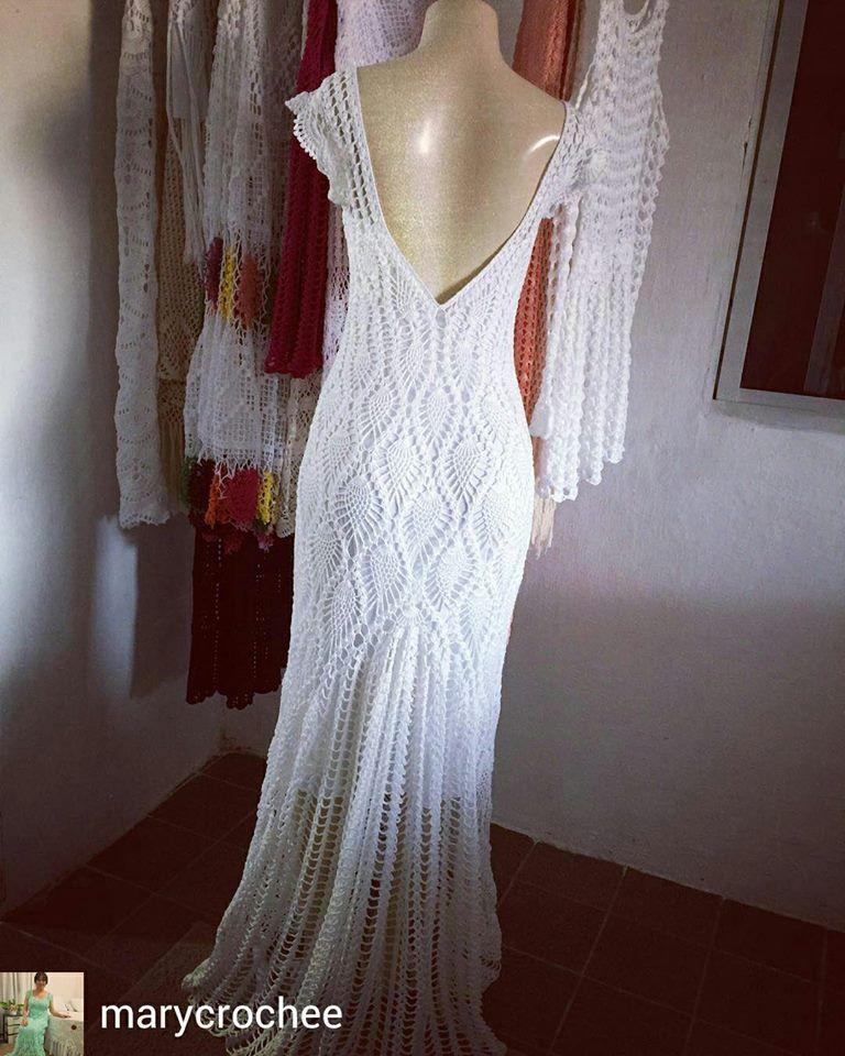 32249bfac Vestido De Noiva Croche, Vestido Com Casaco, Vestido Longo Croche, Crochê  Fashion,