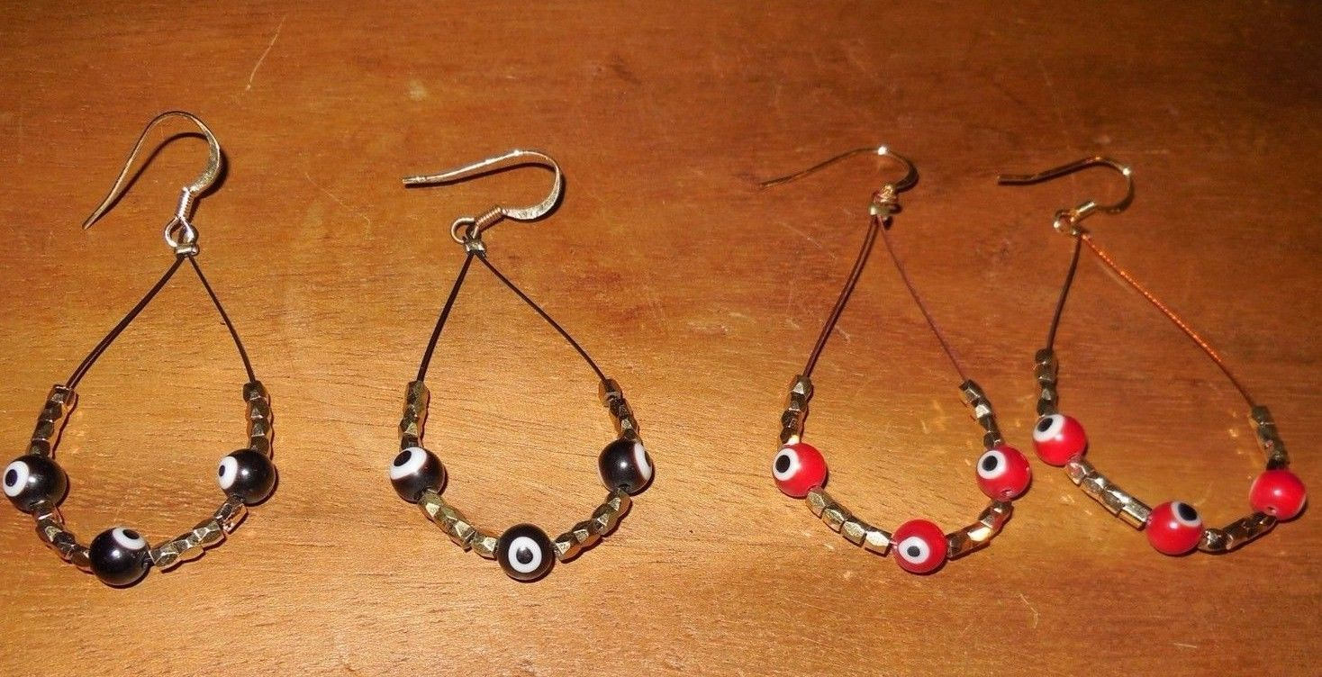 Evil eye protection beads wire earrings choose black or gold gift