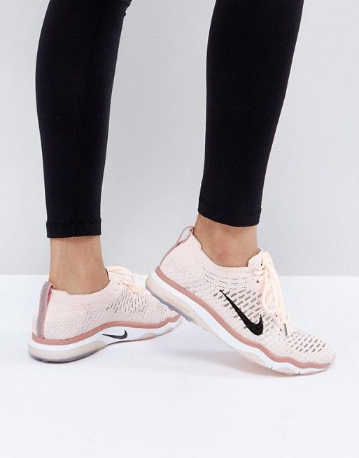 57b2f493a5 Nike Training Air Zoom Fearless Flyknit Trainer In Pale Pink Basket Rose  Pale, Sneaker Boots