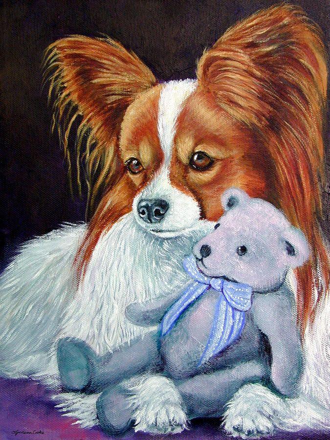 PAPILLON DOG ART canvas print of LAShepard painting 8x8