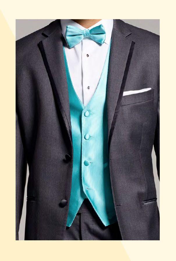6e978faabb4 Tuxedo with bright turquoise vest and bowtie   Wedding Attire ...