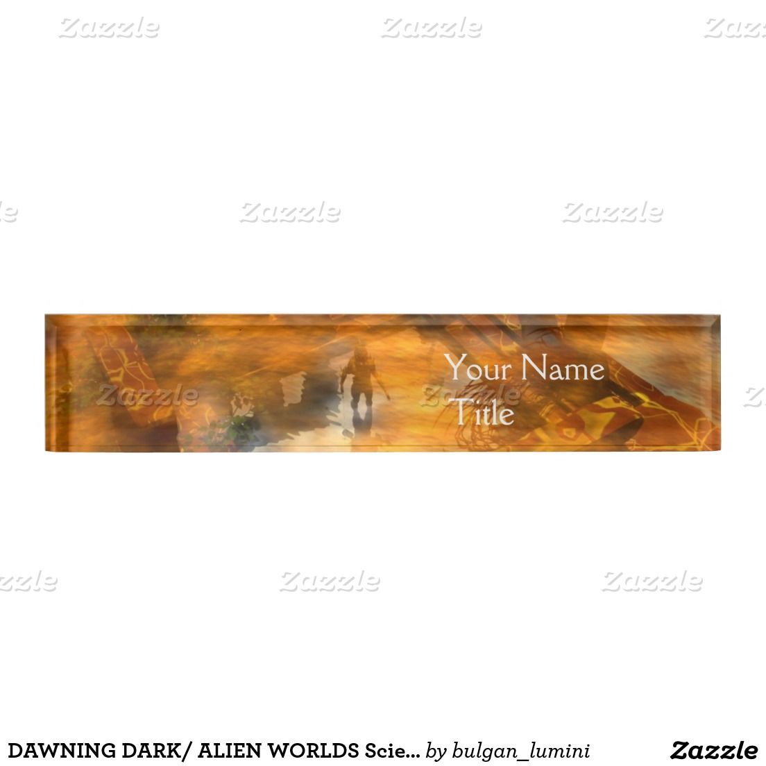 DAWNING DARK/ ALIEN WORLDS Science Fiction,Sci-Fi Desk Name Plate ...