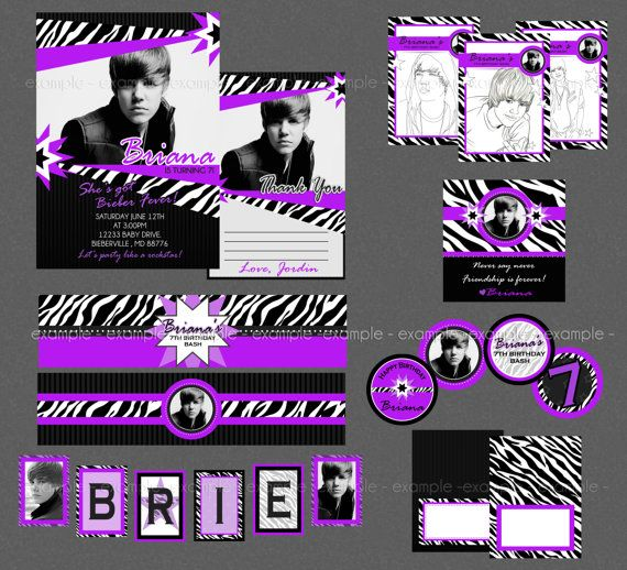 Justin Bieber Birthday Mega Party Pack By Briezeesboutique On Etsy