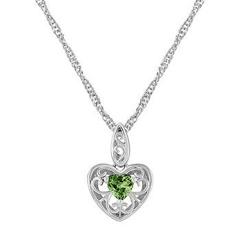 Heart shaped green sapphire and sterling silver pendant 18 heart shaped green sapphire and sterling silver pendant 18 in aloadofball Image collections