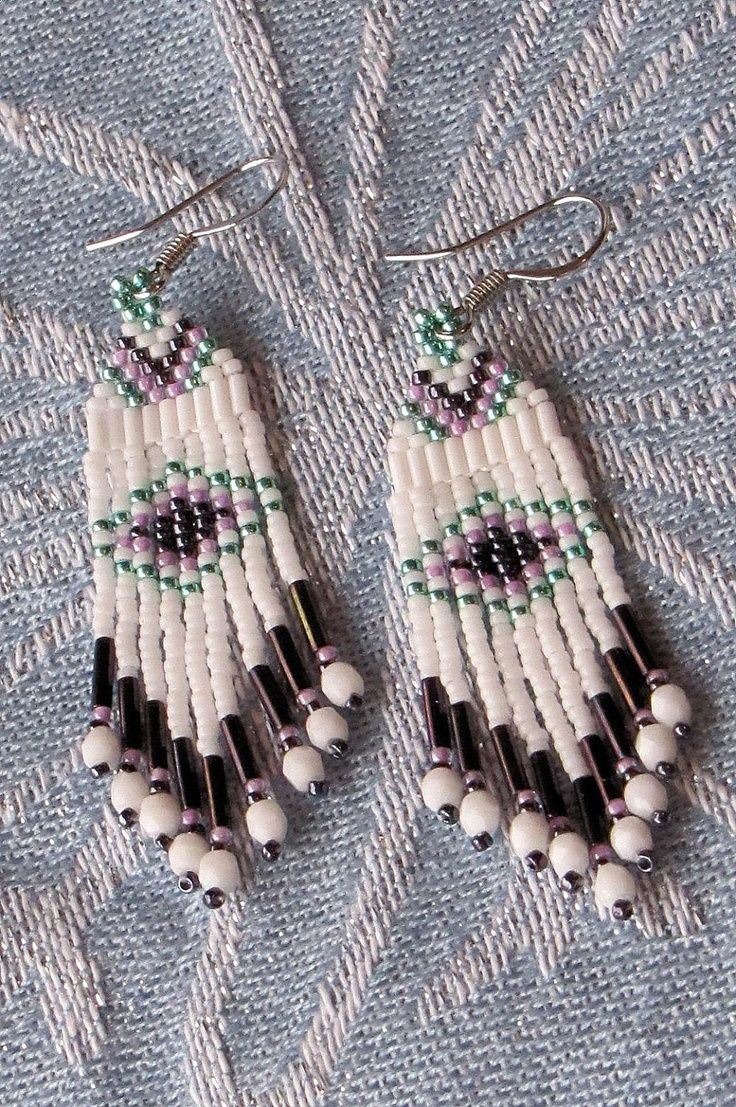 seed beaded earring patterns | Seed Bead Earrings White Aqua and Purple by ... | Seed bead patterns