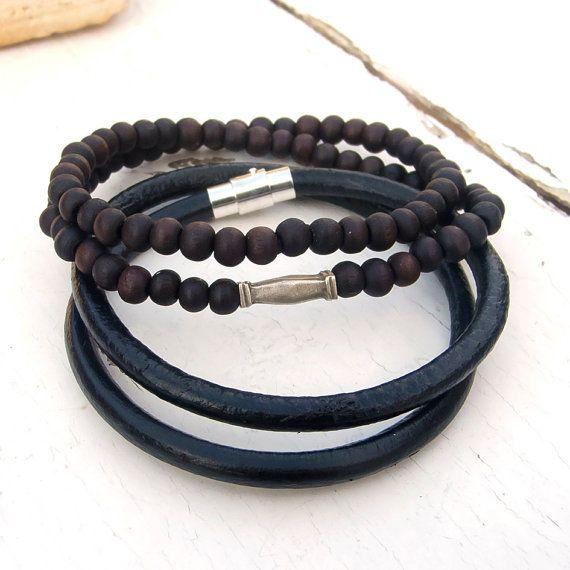 Mens Leather Bracelet Prayer Beads Mala Style Hippie Set