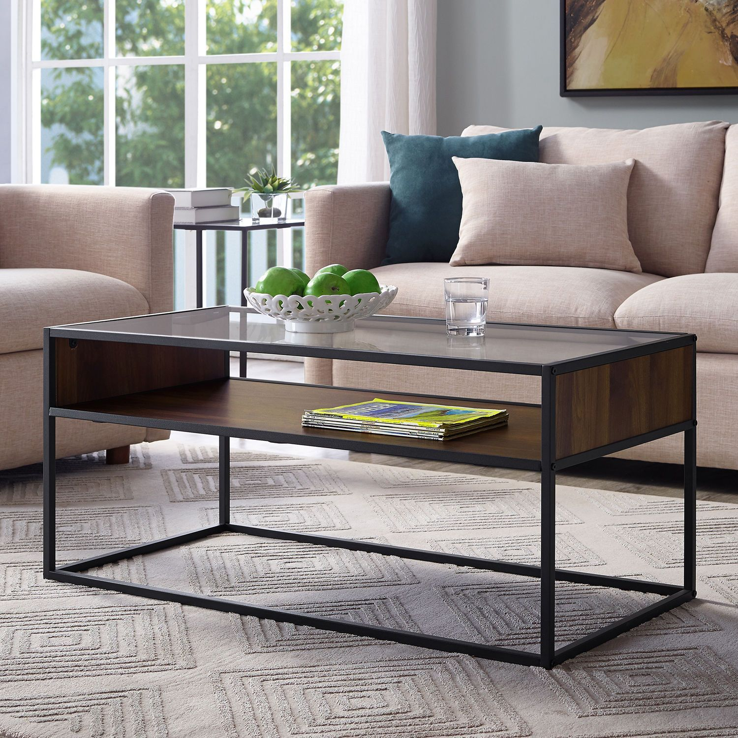 metal frame coffee table with glass top