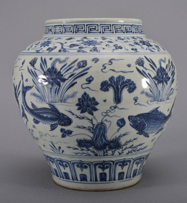 Decorated Fishing Urn A Large Blue And White Fish Jar Ming Periodthe Jar Is Wide