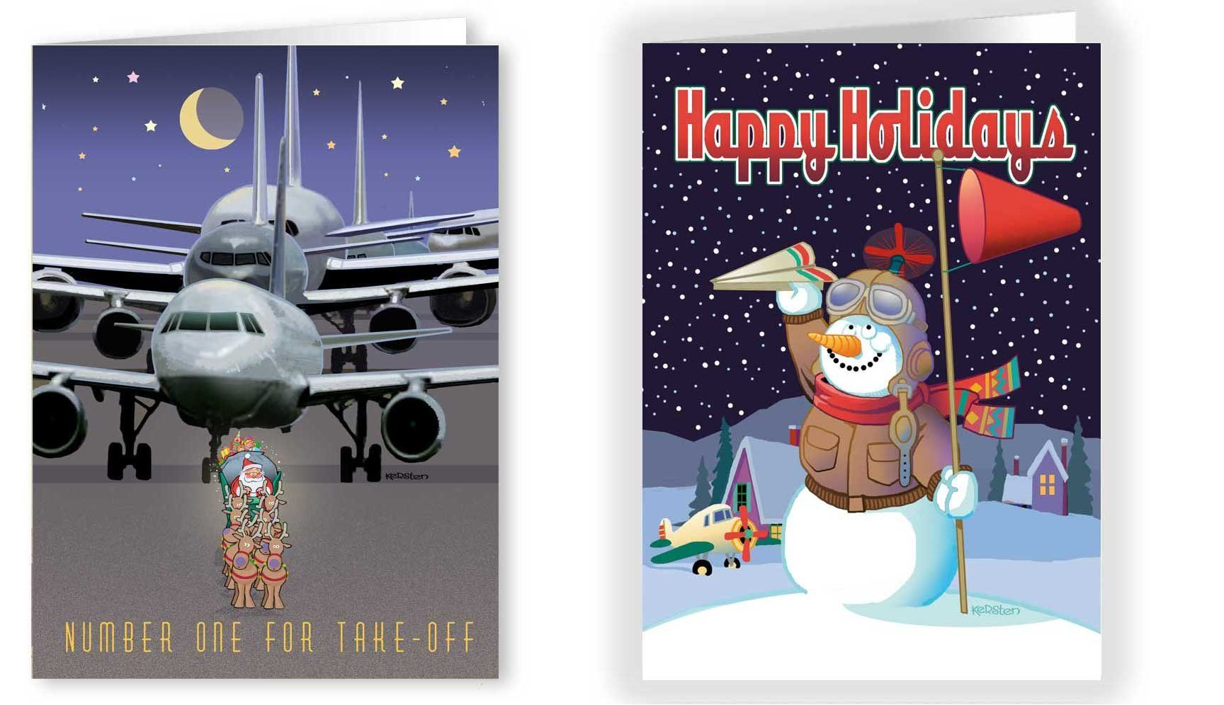 Airplane Christmas Card Variety Pack 24 Cards and Envelopes Funny ...