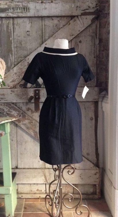 Moving sale 1950s black silk day dress 50s wiggle by melsvanity