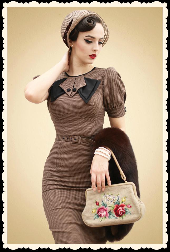 c3588a272fd4 Robe crayon vintage rétro glamour années 50 Bernice brun   noir de Stop  Staring
