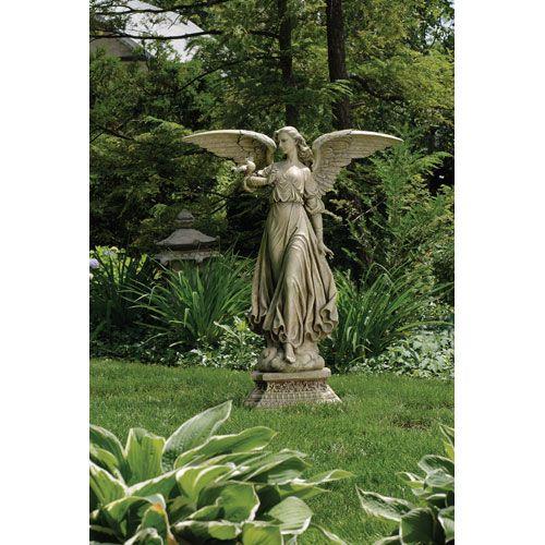 Garden Statuary 46.5 Inch Angel On Pedestal Garden Statue Roman Inc Outdoor  Statuary Statu