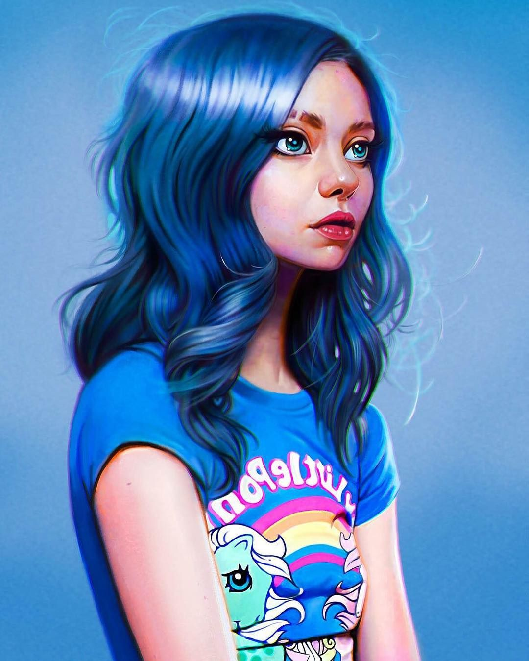 Awesome blue hair cool tshit NICE color contrast just
