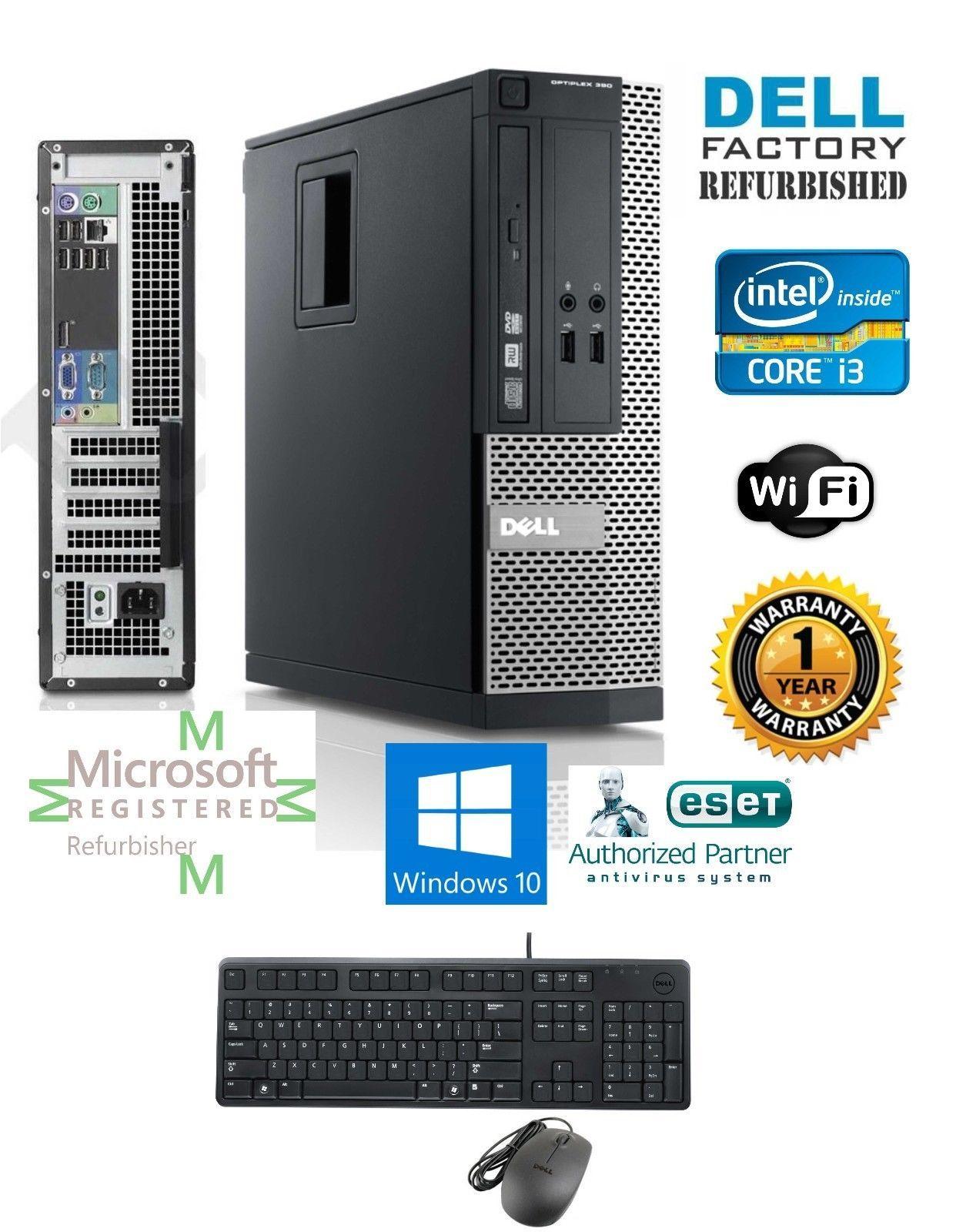 Dell Computer Core I3 2120 Sff Desktop Pc 330ghz 4gb Ram 250gb Windows 10