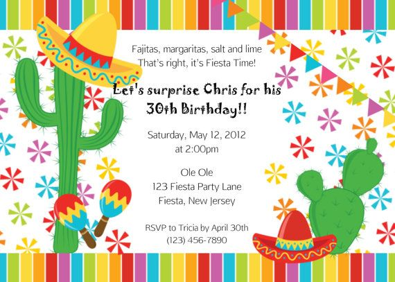 Invitation Fiesta Cinco De Mayo Mexican By Afairytalebeginning 12 00 Custom Party Invitations Ideas