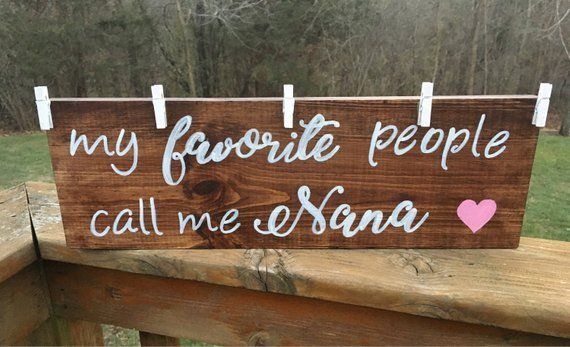 My favorite people call me nana wood sign, grandparent photo sign, picture holder sign #grandparentphoto