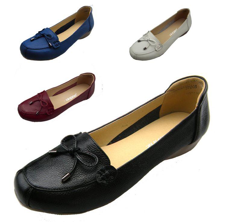 Plus Size 35-43 Genuine Leather Women Work Shoes Maternity Single ...