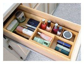 Axis 139 Natural Wood Expandable Cosmetic Drawer Organizer.