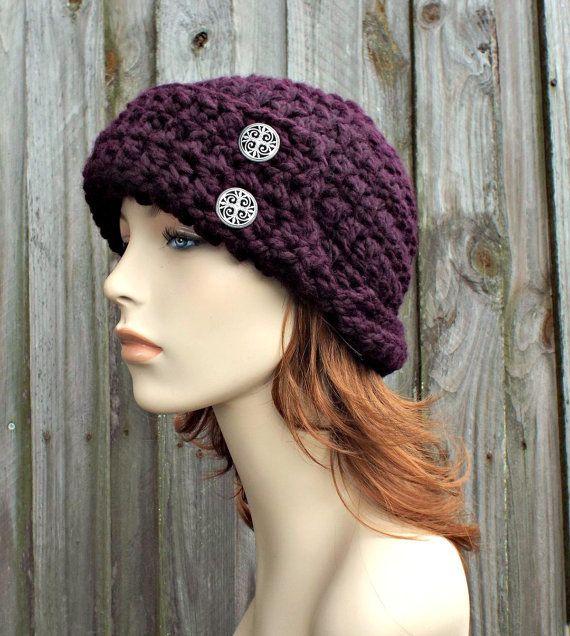 Garbo Cloche Hat - Eggplant Purple Hat - Crochet Hat Womens Hat ...