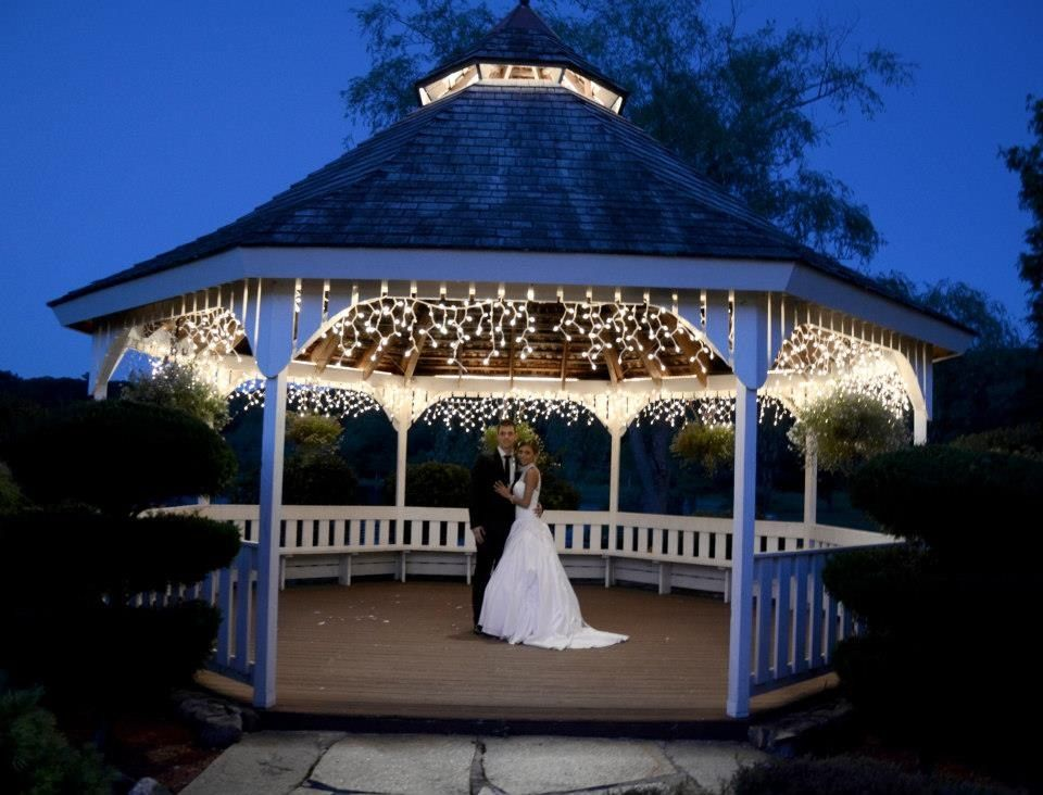 Evening Wedding Gazebo For The First Dance With An Outdoor