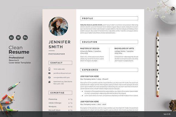 Resume/CV - Feminine by ThemeDevisers on @creativemarket #resume #cv