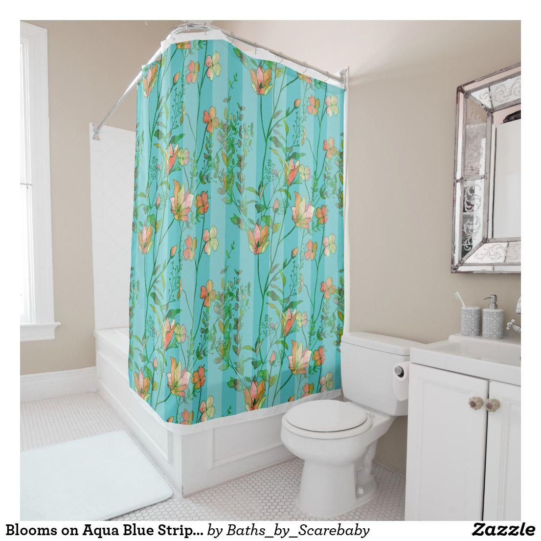 Blooms on aqua blue striped background shower curtain bath