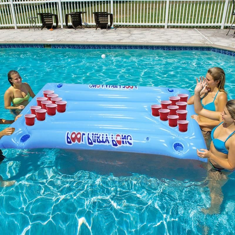 Inflatable Beer Pong Table In 2020 Pool Beer Pong Inflatable Pool Floats Inflatable Pool