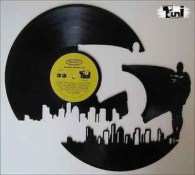 AUTHENTIC HANDMADE Superman shaped vinyl record (wall art)